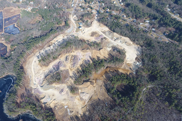 aerial view of excavated land